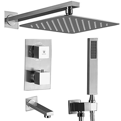 Thermostatic Shower Square - HIMK Shower system,Shower Faucet Set with Tub Spout for Bathroom and 10
