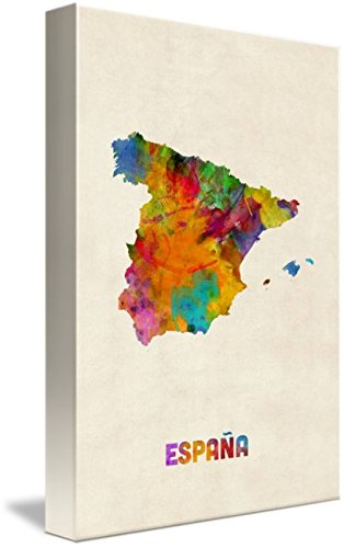 Wall Art Print entitled Spain Watercolor Map by Michael Tompsett | 32 x 48 by Imagekind