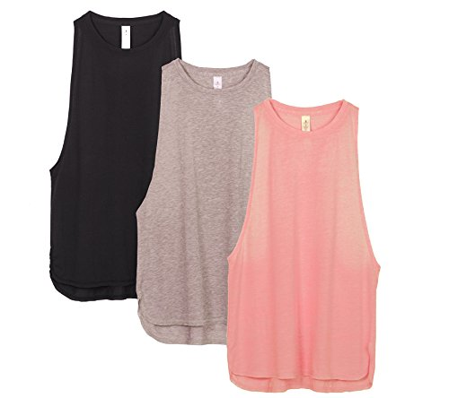 icyzone Workout Tank Tops for Women - Running Muscle Tank Sport Exercise Gym Yoga Tops Running Muscle Tanks(Pack of 3)(S