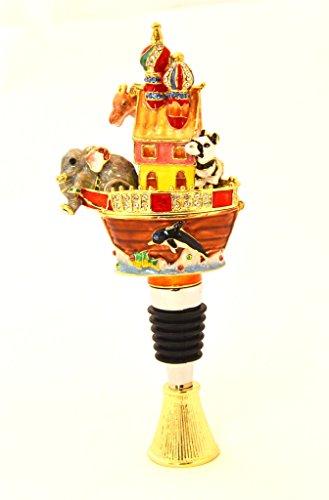 Ciel Collectables Noah's Ark Trinket Box on Bottle Stooper, Hand Set Swarovski Crystal, Hand Painted Colorful Enamel