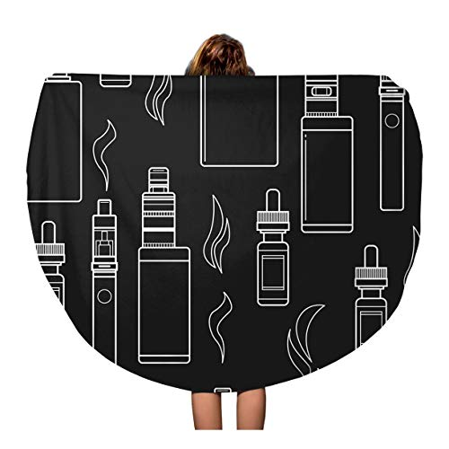 Semtomn 60 Inches Round Beach Towel Blanket Coil for Vape E Cigarette Store Alternative Analog Atomizer Travel Circle Circular Towels Mat Tapestry Beach Throw