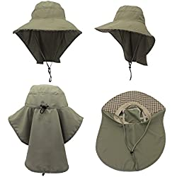 QBLEEV Sun Hat with Neck Flap Adjustable Beach Outdoor Activities Quick-drying Spf 50+ Large Brim Visor (Army Green)