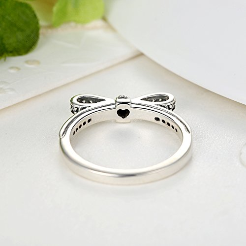 BAMOER 925 Sterling Silver CZ Gemstone Bow Promise Ring Infinity Romantic Love Jewelry for Women Teen Girls Stack Ring Size 6-9 (9) by BAMOER (Image #4)