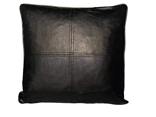 2 Piece Black Faux Leather Decorative Feather Down Fill Square Throw Pillows, 18 x 18 Inches , Solid Color Pattern, Contemporary Modern, Hidden Zipper Closure, Knife Edge, Microsuede, Duck Feather ()
