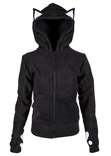 Womens Black Dark Kitty Cat Full Zip Hoodie Sweater – Size (Kitty Hoodie)