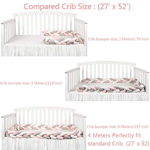 LOAOL Baby Crib Bumper Knotted Braided Plush Nursery Cradle Decor Newborn Gift Pillow Cushion Junior Bed Sleep Bumper (2 Meters, White-Gray-Rose)