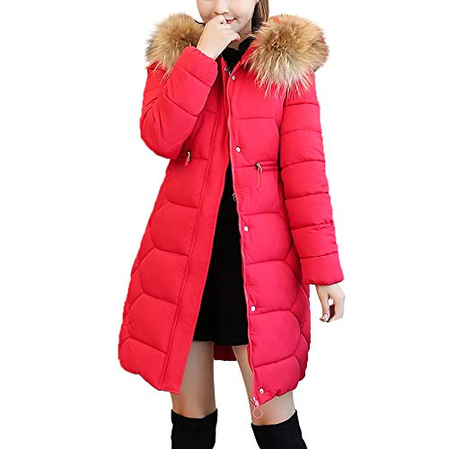 Limsea 2018 Women Jacket Coat Parka Outwear Hooded Solid Warm Long Thick Fur Cotton Slim Large Red