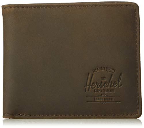 (Herschel Supply Co. Unisex-Adult's Hank Leather RFID Wallet, nubuck brown, One Size)