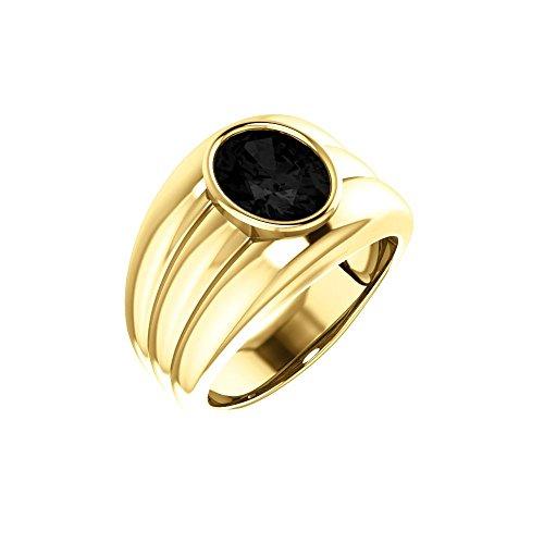 14k Yellow Gold Onyx Bezel Set Men Gents Gemstone Ring