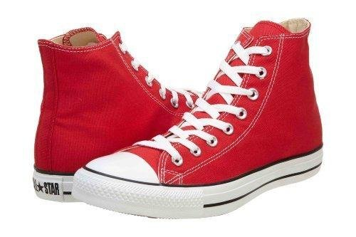 Converse Chuck Taylor All Star High Top Sneakers (9.5 M US Women / 7.5 M US Men, Red) (Canvases Red)