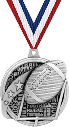 フットボールメダル – 2インチ Kudos キッズフットボール賞 メダル シルバー