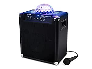 ION Audio Party Rocker Live | Bluetooth Speaker with Party Lights & App Control + Microphone & Cable (50W)