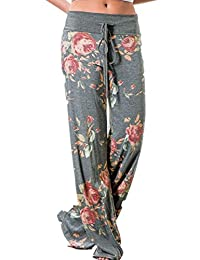 Ninimour Women's Plus Size Casual Floral Print Drawstring Wide Leg Pants Yoga
