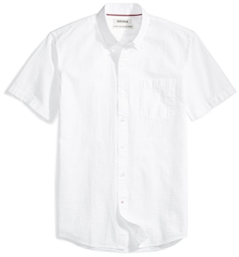 Goodthreads Men's Standard-Fit Short-Sleeve Seersucker Shirt, Solid White, Large