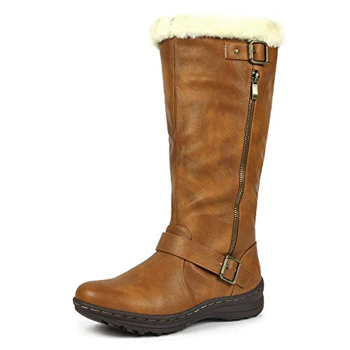 (DREAM PAIRS Rabbit Women's Lady Winter Fully Fur Lined Double Buckle Ruched Snow Knee High Boots Camel PU-SZ-10)