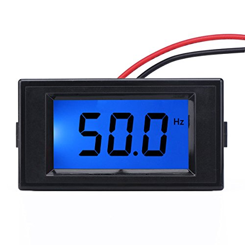 DROK 090710 Two wires AC 80-300V 10-199.9HZ Digital Frequency Counter Cymometer Frequency Monitor Tester Panel Gauge 3 Digits Blue Backlight LCD Display