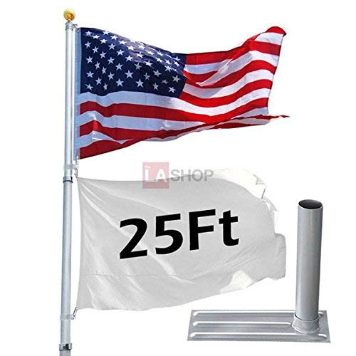 (25 ft Aluminum Telescoping Flagpole Kit Golden Ball Finial + Tire Mount Wheel Stand PVC Ground Sleeve America USA Flag Design Spin Brackets for Flags Pole)
