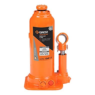 Groz 4 Ton Hydraulic Bottle Jack with Load Limiting Device | Ideal for use with Cars, Mini Trucks, MUVs, SUVs, LCVs, etc.| Portable| Leak-proof| Forged Base| Lifting Range: 190 – 368 mm| JACK/BT/4W 7