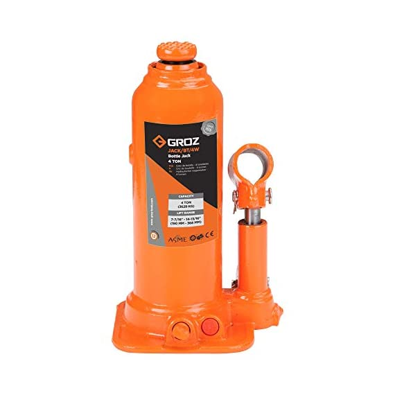Groz 4 Ton Hydraulic Bottle Jack with Load Limiting Device | Ideal for use with Cars, Mini Trucks, MUVs, SUVs, LCVs, etc.| Portable| Leak-proof| Forged Base| Lifting Range: 190 – 368 mm| JACK/BT/4W 3
