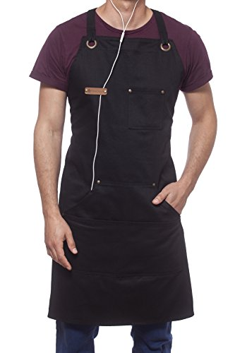 MENT Trends Professional Cooking Apron Chef Designed Kitchen BBQ Grill / 10 oz Black Cotton Women Men Bib Adjustable/Towel Loop + Quick Release Buckle + Tool Pockets + Headphones Loop by MENT Trends