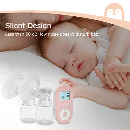41rEJTHO8cL - Double Electric Breast Pump Portable Pain-Free Rechargable By Momcozy, Strong Suction Power, 9 Speeds 2 Modes, Timer And Memory Function, Hospital Grade