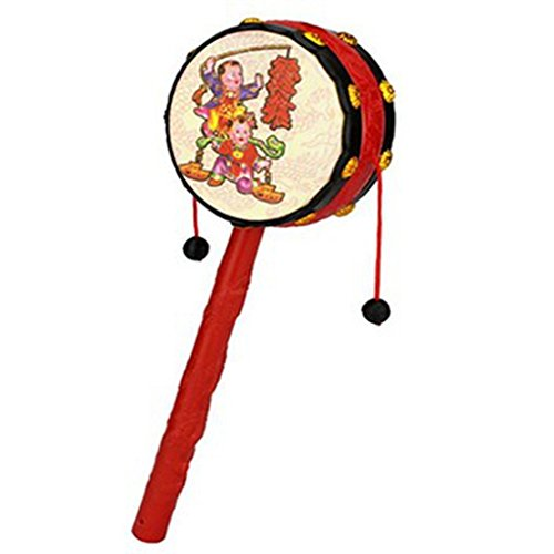 2pc Red Festival Rattle Drum Percussion Childrens Musical Toy Baby Hand Fun Gift Chinese Percussion