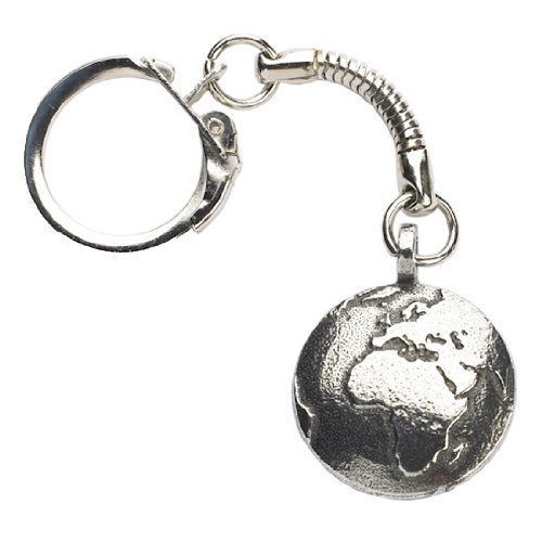 Globe keychain world map planet earth geography key chain key fob earth pewter keyring gumiabroncs