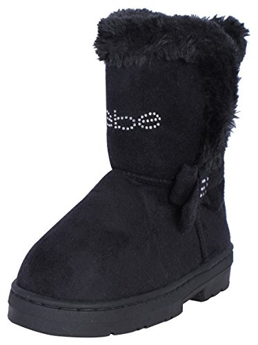 Bebe Designer (Bebe Girls Chatz Micro Suede Boots with Rhinestone Embellished Logo & Bow, Black, Size 13')