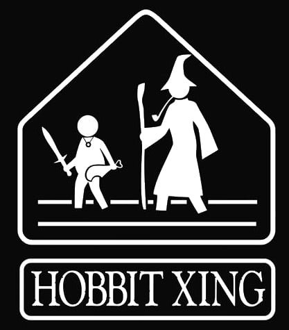 Hobbit Costumes Make (Hobbit Xing LOTR Decal Vinyl Sticker|Cars Trucks Vans Walls Laptop| White |5.5 x 4.5 in|LLI134)