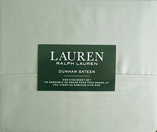 Lauren Ralph Lauren 4 Piece Cotton Dunham Sateen King Size Sheet Set Light Gray / Green -- Moss