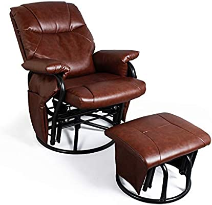 Superb Recliner Chair With Ottoman Living Room Chairs Faux Leather Glider Chair 360 Degree Rotation Leisure And Relaxation Furniture Red Brown Ibusinesslaw Wood Chair Design Ideas Ibusinesslaworg
