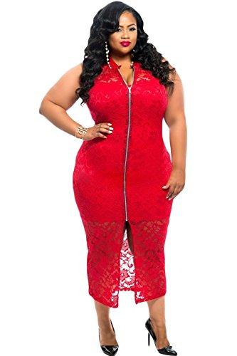 NEW Femme de plus Taille Rouge Zip avant en dentelle robe Midi Casual Soirée porter Plus Taille 20–22EU 48–50