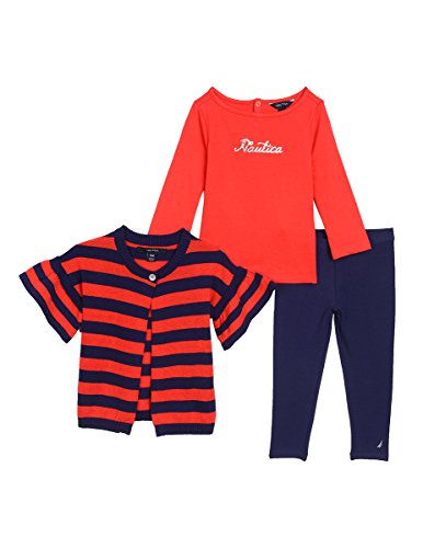 Girls 3 Piece Sweater (Nautica Baby Girls' Three Piece Sweater, Top and Pant Set, Bright Red Stripes, 24 Months)