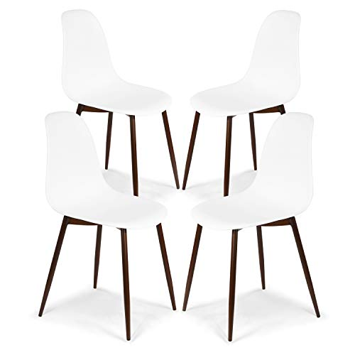 (POLY & BARK EM-374-WHI-WAL-X4 Landon Sculpted Dining Chair, Set of 4, White)