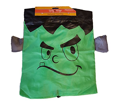 Halloween Black Frankenstein Drawstring Backpack Reusable Treat Bag - 16