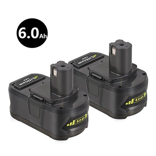 Enegitech P108 Lithium ion Battery 18V 6000mAh for Ryobi One Plus P102 P103 P104 P105 P107 P108 P109 P122 Cordless Power Tools by Enegitech