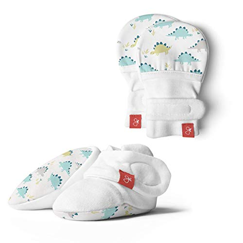 Baby Booties & Mittens Bundle, Adjustable Soft & Secure (0-3 Months, Dino)