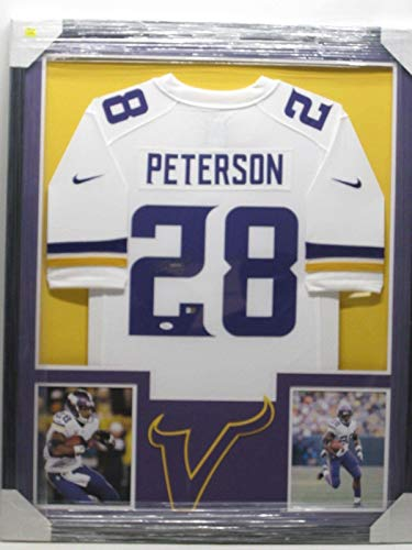 Adrian Peterson Framed - Adrian Peterson Signed Photo - Jersey Framed w Photos CoA - JSA Certified - Autographed NFL Photos
