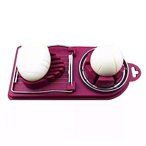 Premium Dual Egg Slicer Wedger with Stainless Steel Wires for Strawberry...