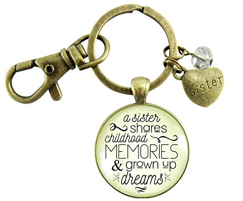 Sisters Keychain A Sister Shares Childhood Memories Meaningful Jewelry Gift For Women Sisterhood Quote Card