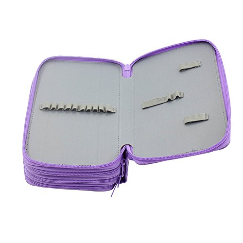Large Product Image of Gunsamg Pencil/Gel Pen/Watercolor Pencil Case 72 Slots Portable Wrap Case (Purple)