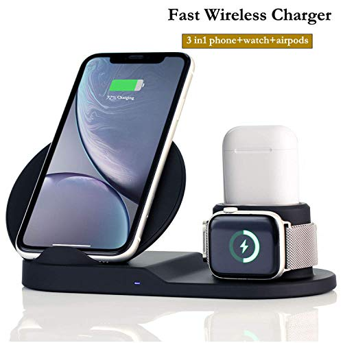 Upgraded Fast Wireless Charger,3 in 1 Wireless Charging Stand for Apple Watch,Charging Station for AirPods, Fast Wireless Charger Dock for iPhone, All Qi Phones, Compatible Samsung -with AC Adapter (Apple Universal Dock Iphone)