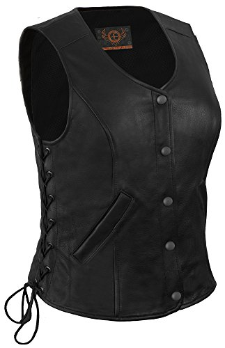 True Element Womens Longer Length Motorcycle Leather Vest With Side Laces (Black, Size XL) by True Element