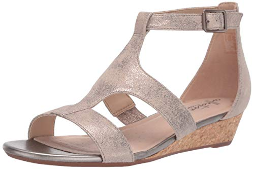 (Clarks Women's Abigail Lily Wedge Sandal, pewter suede, 7.5 M US)