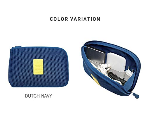OxbOw Travel Electronic Gadgets Bag Pouch Organizer,Travel Organizer,Carry Case, Cord, Battery,Cable Pouch, Small Tech Organizer Bag for Travel Outdoor (21X3X15 cm) (Navy Blue)