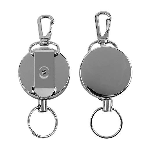 2 Pcs Metal Retractable Badge Reel Badge Holder Reel Clip with Stainless Steel Cord for Heavy ID Card Keychain