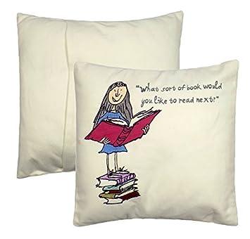 Roald Dahl Matilda libro rosa azul bordado 100% algodón 30x 30cm ...