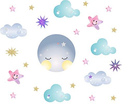 - Easu Moon Sticker Clouds Wall Decals Stars Wall Decals Kids Room Wall Decor Smiling Clouds Wall Sticker Removable Wall Art Decor