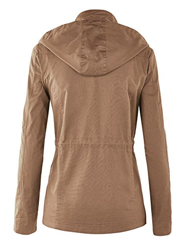 WJC643 Womens Pop Of Color Parka Jacket L Khaki by Lock and Love (Image #2)