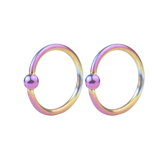 Women's Body Jewelry 16G Surgical Steel Captive Bead Rings Nose Belly Eyebrow Tragus Lip Ear Nipple Hoop Ring BCR 10mm 2pcs Steel